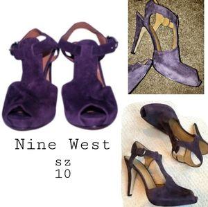 Nine West Dark Purple Palomino heels. Sz 10